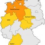 Gefährliche Erdgassuche in Deutschland - Karte der Bundesländer, in denen unkonventionelle Gasvorkommen liegen