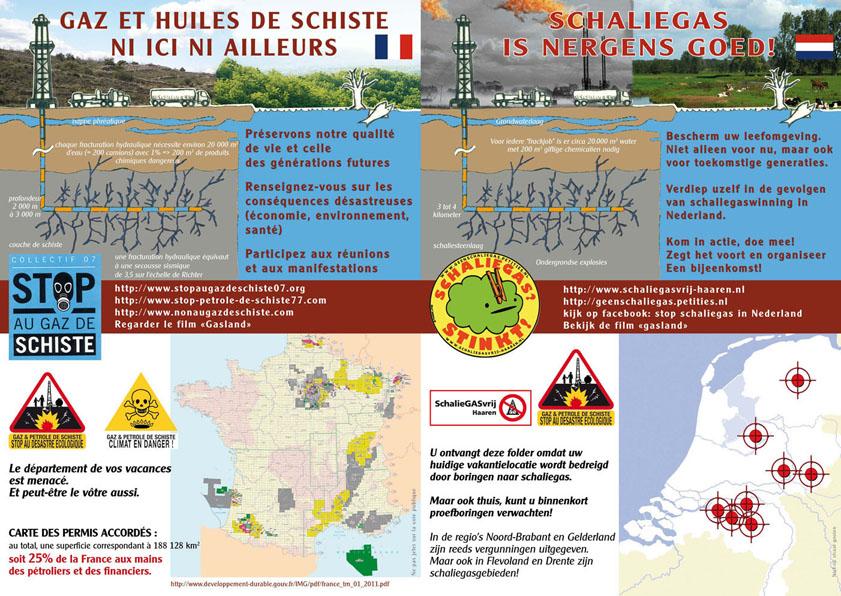 Mehrsprachige Flyer der europäischen Initiativen gegen Fracking - Frankreich und Niederlande