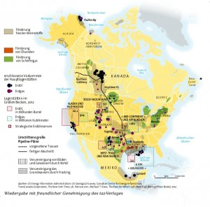 Karte Kohlenwasserstoff-Industrie in Nordamerika.