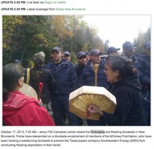 17. Oktober 2013, 7:30 Uhr: Etwa 700 Polizisten marschieren gegen die friedlich protestierenden Mi'kmaq auf. (New Brunswick) (Foto: Daily Kos)