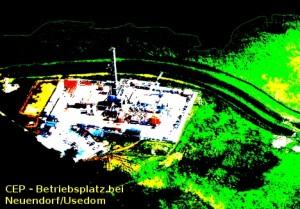 Das ist der Betriebsplatz der CEP östlich von Neuendorf auf Usedom, direkt am Deich