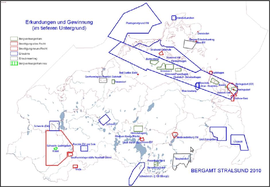 Karte Bergbauberechtigungen in Mecklenburg-Vorpommern (Stand: 2010)