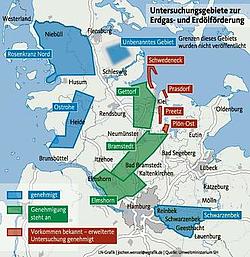 Erkundungs- und Fördergebiete in S-H (Quelle: attac-netzwerk.de)