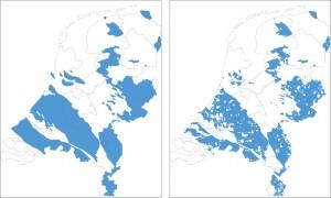 Angenommene Schiefergaslagerstätten in den Niederlanden (links), abzüglich der Ausschlussgebiete einer Förderung nach Ansicht der Regierung (rechts)