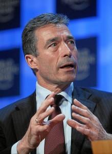 Anders Fogh Rasmussen beim Weltwirtschaftsgipfel in Davos, 2008.