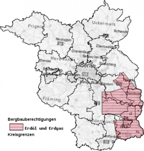 Erteilte Bergbauberechtigungen für die Aufsuchung von Kohlenwasserstoffen im Land Brandenburg (Quelle: LBGR Cottbus)