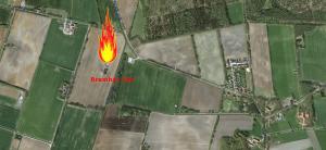 200 m entfernt vom nächsten Gehöft, 500 m entfernt vom Dorf Bramhar explodierte eine Ölbohrung und brannte stundenlang