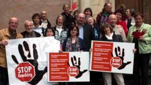 Teilnehmer des 4. Bundestreffens der anti-Fracking-Initiativen in Deutschland